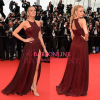 Standard gossip girl - 2014 Gossip Girl Blake Lively Sexy Chiffon Celebrity Red Carpet Dress Burgundy Gown Split By Frida Gianni Celebrity Evening Dresses CPS084