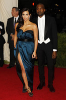 Cheap 2014 Met Gala Red Carpet Kim Kardashian Sweetheart Navy Blue with Black Sash High Side Split Sexy Prom Dresses With Pocket DHzy 02