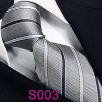 Cheap BRAND NEW COACHELLA Men ties 100% Pure Silk Tie Gray With Black Blue Stripes Holiday Woven Necktie Formal Neck Tie for dress shirts Wedding