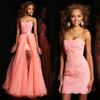 Cheap 2015 Strapless Prom Dresses Lace Applique Evening Form...