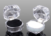 Wholesale wedding Crystal clear ring box transparent box stud earring jewelry box Case Gift boxes jewelry packaging