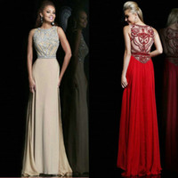 New Coming 2015 Crew Prom Dresses Crystal Beading Evening Fo...