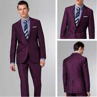 Wholesale custom made new purple Men Suits Two button wedding suits groom tuxedo suit for mens Jacket Pants Tie Vest Handkerchief