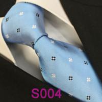 Cheap BRAND NEW COACHELLA Men ties 100% Pure Silk Tie Blue With Black White Spots Dots Woven Necktie Formal Neck Tie for dress shirts Wedding