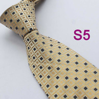 Cheap BRAND NEW COACHELLA Men ties 100% Pure Silk Tie Khaki Plaids With Black Spots Woven Necktie Casual Formal Neck Tie for dress shirts Wedding