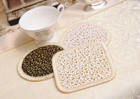 Wholesale coasters grade insulation mat bowls mat beautiful leather high fashion Golden coasters creative household supplies hs45