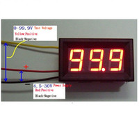 Wholesale 3 Wire LED Digital Display DC V Panel Car Motor Volt Meter Voltage Voltmeter