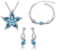 Wholesale jewelry set Five which Austrian crystal earrings necklace bracelet sets