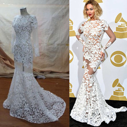 Wholesale Grammy Awards Sexy Beyonce Mermaid Open Back Long Sleeve See Through Ivory Sheer Lace Celebrity Evening Dresses