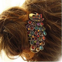achat en gros de pince à cheveux de paon métallique-Gros-OP-H15 Peacock cristal épingle paon pour les cheveux cru clip clip bec de canard de la banane paon en épingle à cheveux (10 min pour $ Articles mixtes commander