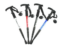 Cheap Wholesale-op-Adjustable AntiShock Hiking Cane Trekking Pole Telescopic Walking Stick Crutches With Compass