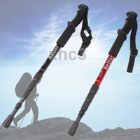 Cheap Wholesale-op-Folding Adjustable Aluminum alloy Hiking Walking Stick Crutch with Compass Height 0.5-1.1m Random Color Delivery