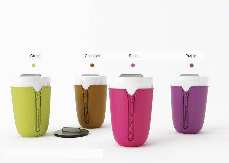 Creative 310ml Silicone Zipper Sleeve Designed Ceramic Mug