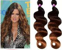Cheap Hot salling of the hot Queen hair products #1b #4 #27 3 tone Ombre Hair Weft Brazilian Virgin Hair Wavy Unprocess Ombre Hair Weft