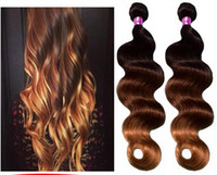 Cheap Best salling of the hot Queen hair products #1b #4 #27 3 tone Ombre Hair Weft Brazilian Virgin Hair Wavy Unprocess Ombre Hair Weft