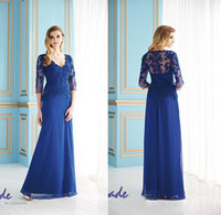 dhg - Plus Size V Neck dhg Long Sleeves Mother of the Bride Groom Dresses Chiffon Blue Long Evening Gowns Formal Dress For Wedding Brida
