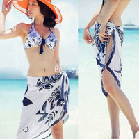 Wholesale Hot Sales Sexy Open Wrap Summer Chiffon Swimwear Bikini Cover Up Sarong Beach Dress Pareo nx120