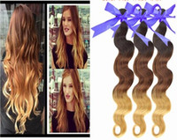 Cheap HOT SALES! Fashion 12-30 inch top quality virgin malaysian human hair weft ombre color #1b 4 27 100g pc 3pcs lot DHL free shipping