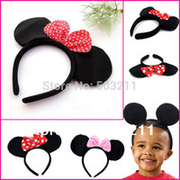 Cheap Red Pink bows Minnie Mickey mouse ears party Girls boys kids children hair Accessories headband headwear