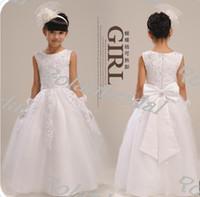 Wholesale girl long design formal dress quality child puff princess wedding dress for flower girl