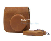 Wholesale New Brown Retro Leather Bags Instax Mini Instant Polaroid Case For Fujifilm Camera Strap