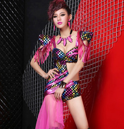 10pcs/lot Nightclub Queen Colorful Plaid Tassels Gauze Irregular Sexy Jumpsuits Party Girl Dancer DS Costumes Hip-Hop Jazz Stage Wear #8160