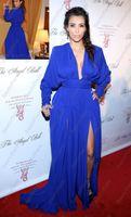 Cheap Kim Kardashian Royal Blue 2014 Sexy Deep V Neck Long Sleeve Prom Dresses Split Side Chiffon A Line Floor Length Red Carpet Celebrity Dresses