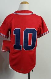Wholesale Youth Kids Chipper Jones Red Baseball Cool Base Jerseys Authentic Stitched Jersey Softball Sportswear