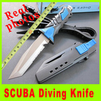 best hiking equipment - New Green blue SCUBA Diving Knife Leggings Knives Equipment Diver s knife Outdoor gear survival knife High quality best christmas gift H