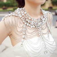 Cheap New Charming Wedding Bridal Women Ladies Jewelry Set Silver Crystal Rhinestone Shining Shoulder Long Full Body Chain Necklace Epaulet Jacket