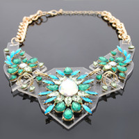 Wholesale Fashion multicolour crystal flower sweater clothes accessories drop necklace