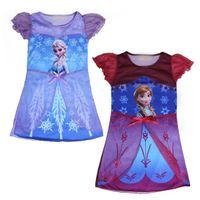 short sleeve dress - Frozen Elsa Dress Anna Elsa Frozen Dress For Girls dress up Anna Frozen princess short sleeve dresses For Frozen