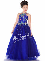 Wholesale Pretty Blue Tulle Halter Beads Flower Girl Dresses Girls Pageant Dresses Dressy Dress Holidays Dress Custom Size FF801019
