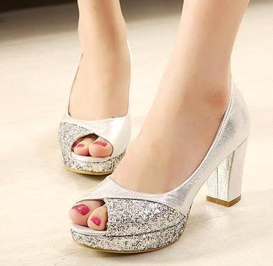 Thick Heel Silver Shoes | Tsaa Heel
