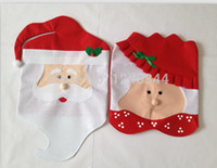 Wholesale Mr Mrs Santa Claus Christmas Kitchen Chair Covers dinner chairs covers Banquet Chair covers
