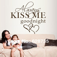 ebay - large size x55cm hot selling on ebay quot always kiss me goodnight quot vinyl wall decals sticker bedroom decor q0294