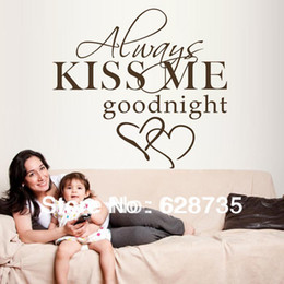 Wholesale large size x55cm hot selling on ebay quot always kiss me goodnight quot vinyl wall decals sticker bedroom decor q0294