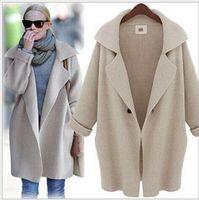 Wholesale wool Medium long shawl cardigan sweater autumn winter outwear women s coat WS54