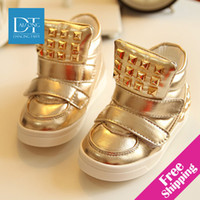Wholesale OP New winter fashion children boots gold patent leather kids sneakers sapato infantil kids boots children shoes size21