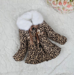 Wholesale Retail Girls Winter Coats Thicken Leopard Fur Collar Outerwears