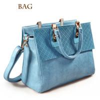 Wholesale Ms new fashion handbags Single shoulder bag inclined bag leisure women handbags blue khaki blackdouble root soft hand Totes Fashion