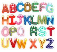 Wholesale Unisex Kids Educational Toy Wood Letters Alphabet Learning Fridge Magnet