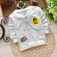 Cheap Wholesale - 2014 New Autumn boy's Tshirts fake pocket long sleeve 4 Sizes 0~5Y 100%Cotton Tshirt cool boy Tshirts Baby Clothing baby tops