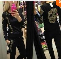 Wholesale Jogging European Fashion Women SET Rivets Skull Sport Suit Tracksuit Sweatsuit Sweater Hoodies Sportswear White Black Colours S M L