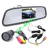 "Cheap Wireless 9 IR LED Reversing Camera Car Rear View Kit Waterproof + 4.3"" LCD Mirror Monitor Free Shipping"