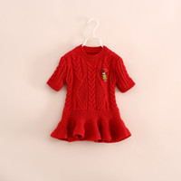 Wholesale 2014 Christmas Red Knit Sweaters Kids girl long sleeve fashion TUTU pullover children s jumper tops