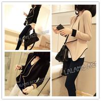 Cheap Autumn New 2014 Women Fashion Chiffon Blouses Tops Full Sleeve Solid Clothing Cardigan Size Free 851577