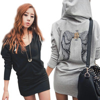 Cheap 2014 NEW Spring Autumn Hot Sexy Women Long Hoody Short Dress, Fashion Back Wings Pullover Casual Jumper Top YE1364-25