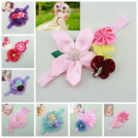 Wholesale 2014 New Europe Baby Girls Hair Bands Lace Roses Flowers Infant Pretty Headbands Multicolor Colors Children Hair Accessories