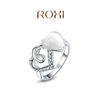 Cheap ROXI 2014 Free Shipping Gift Platinum Plated Romantic Double Heart Opal Ring Statement Fashion Jewelry For Women Party Wedding